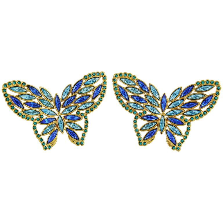yves laurent ysl vintage jewelled butterfly