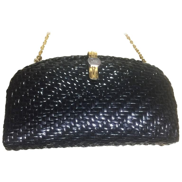 Vintage LANCEL, black bamboo woven clutch bag in round oval shape ...