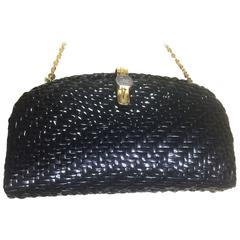 Vintage LANCEL, black bamboo woven clutch bag in round oval shape, chain strap