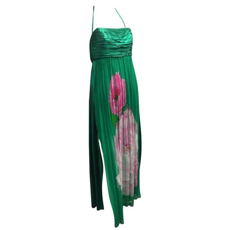 James Galanos Emerald Green Silk Chiffon Floral Print Halter Evening Gown