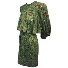1980s Stanley Platos Silk Print Day Dress with Pleated Overlay
