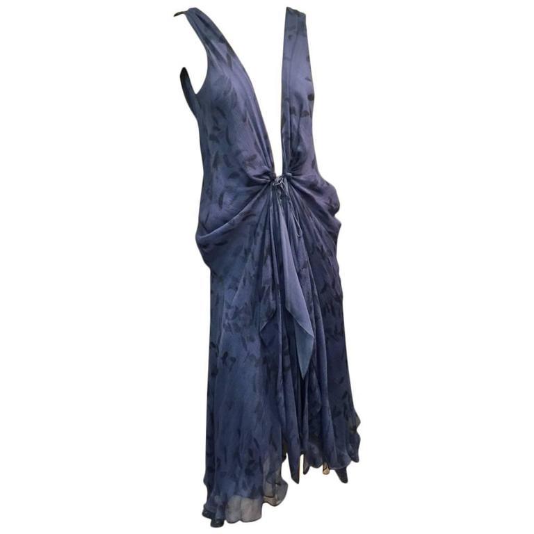 Donna Karan Cobalt and Royal Blue Silk Chiffon Slip Dress For Sale