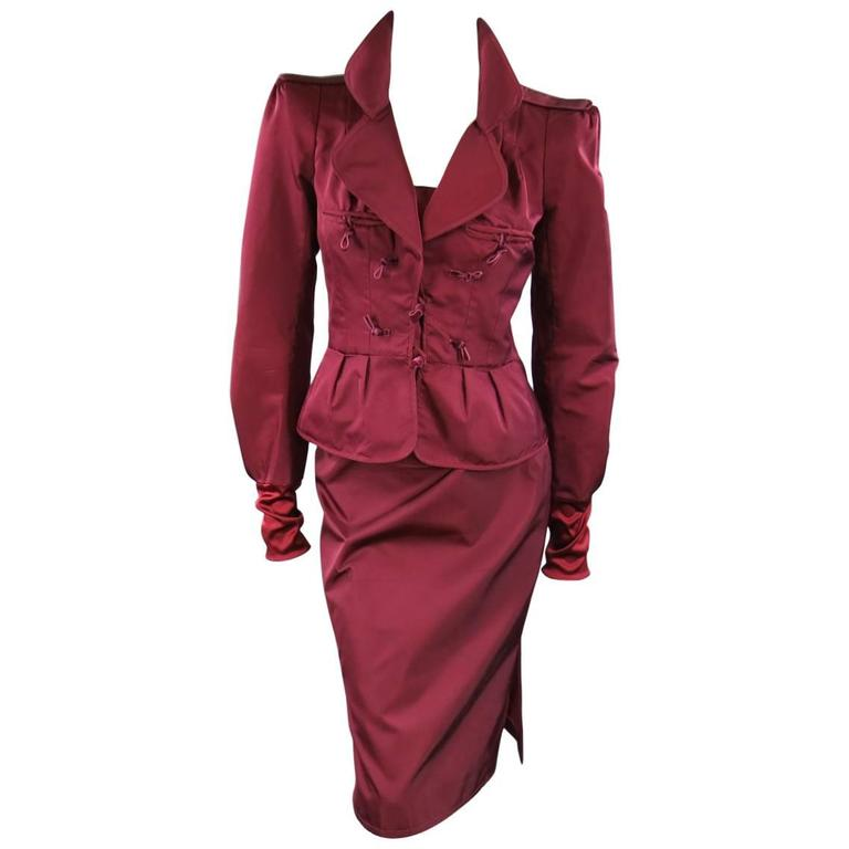 YVES SAINT LAURENT by TOM FORD 8 Burgundy Silk Satin Fall 2004 Skirt Suit