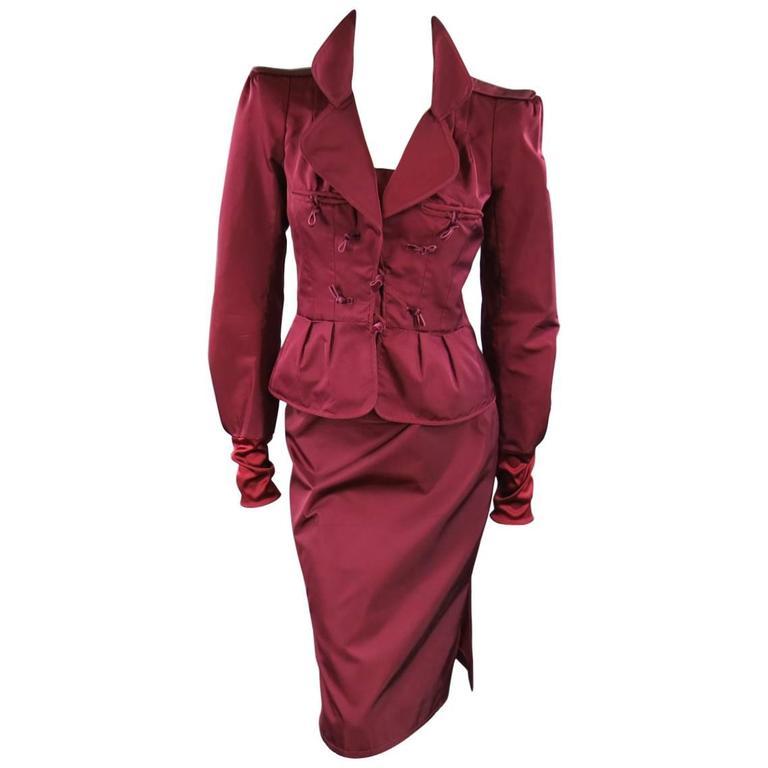 YVES SAINT LAURENT by TOM FORD 8 Burgundy Silk Satin Fall 2004 Skirt Suit 1