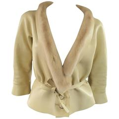 MARC JACOBS Size 6 Beige Leather Mink Collar Cropped Jacket