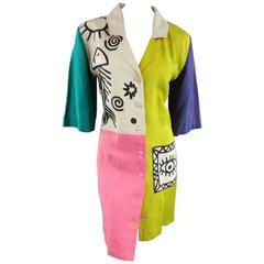 JEAN-CHARLES DE CASTELBAJAC Size 8 Color Block Linen Cartoon Print Coat Dress