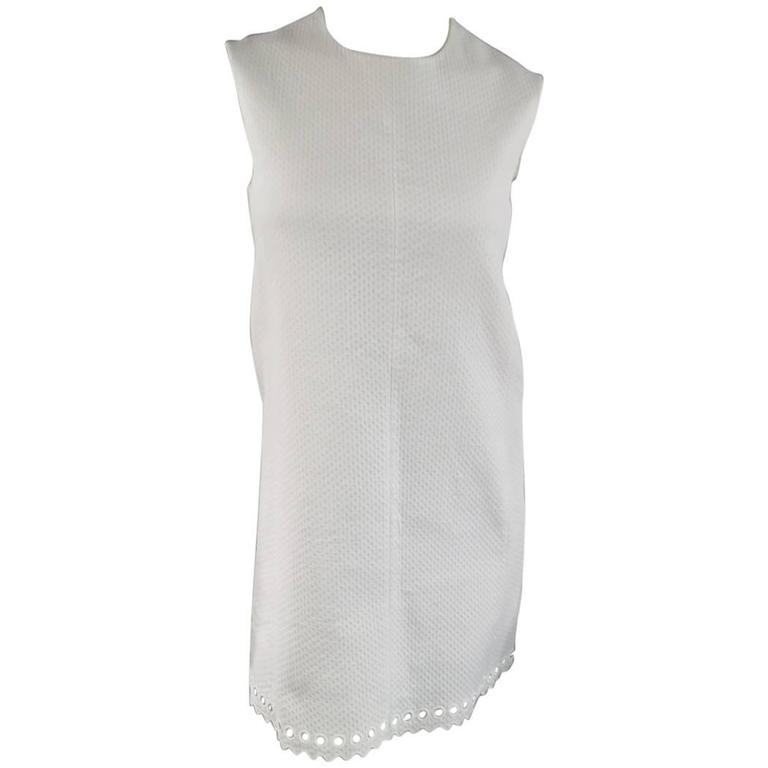 BALENCIAGA Size 4 White Textured Cutout Sleeveless Shift Dress