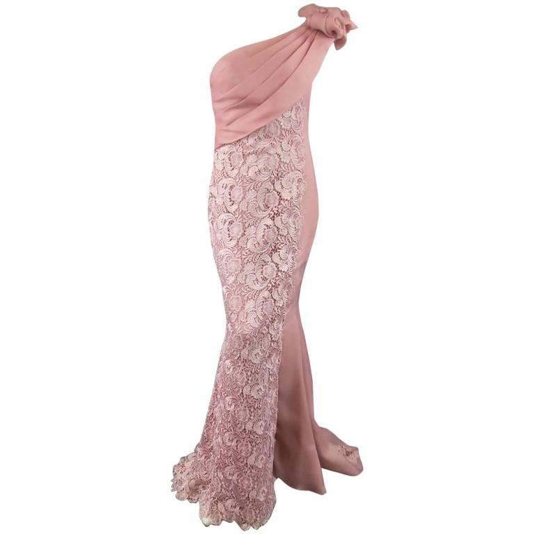 TONY WARD Spring 2011 Size 8 Pink Lace Ruched Bodice Shoulder Rufle Evening Gown 1