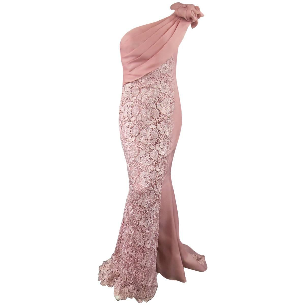 TONY WARD Dress 8 Pink Lace Ruched Shoulder Rufle Evening Gown ...