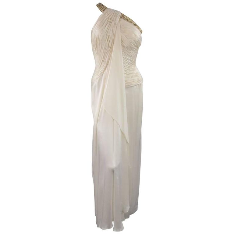 MICHAEL CASEY Size 6 Cream Pleated One Shoulder Gold Beaded Grecian Gown 1