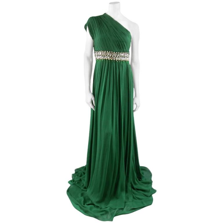 NAEEM KHAN Size 8 Emerald Green Silk Onse Shoulder Crystal Waist Evening Gown 1