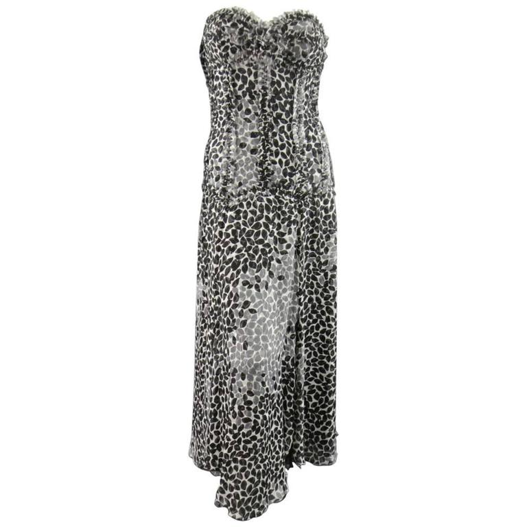 LIANCARLO Size 8 Black & White Printed Silk Raw Edge Sequin Bustier Evening Gown 1