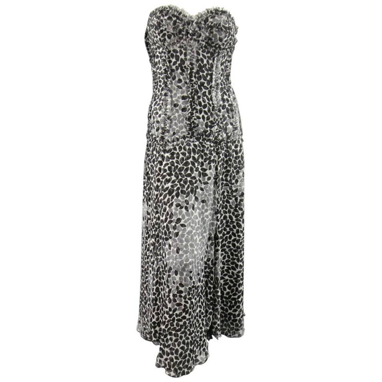 LIANCARLO Size 8 Black & White Printed Silk Raw Edge Sequin Bustier Evening Gown For Sale