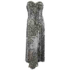 LIANCARLO Size 8 Black & White Printed Silk Raw Edge Sequin Bustier Evening Gown