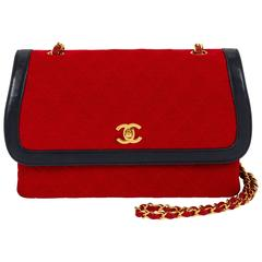1980's Chanel Navy & Red Wool Flap Bag