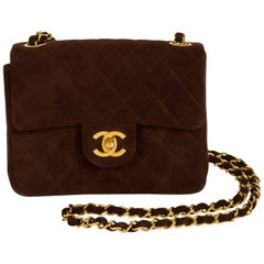 Chanel Brown Suede Mini Classic Flap