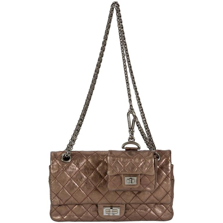 Chanel Bronze Double Flap w/ Charm For Sale