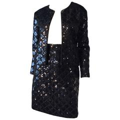 Iconic Chanel Quilted Sequin Skirt Suit, 1980s