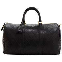 Vintage Chanel Boston Black Quilted Leather Medium Travel Bag