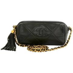Vintage Chanel Dark Green Quilted Leather Fringe Mini Pouch Bag