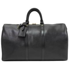 Vintage Louis Vuitton Keepall 45 Black Epi Leather Duffle Travel Bag