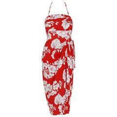 1940's Kamehameha Hawaiian Red & White Tropical Floral Rayon Halter Dress Set