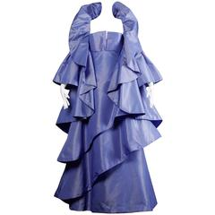 Unworn with Tags Vintage Victor Costa Evening Dress + Cape Coat Ensemble