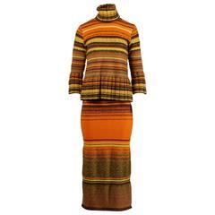 Christian Lacroix Vintage 1990s Striped Knit Wool Sweater + Skirt Dress Ensemble