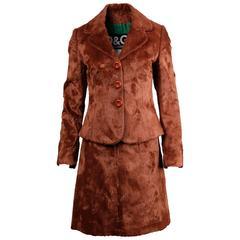 1990s Dolce and Gabbana Vintage Brown Faux Fur Jacket + Skirt Suit Ensemble