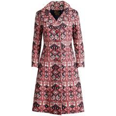 1960s Vintage Utah Tailoring Mills Red Tapestry Carpet Coat