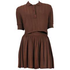 Alaia Brown Knit Shorts Ensemble