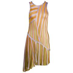 Missoni Knit Asymmetric Striped Dress in Purple Green + Orange