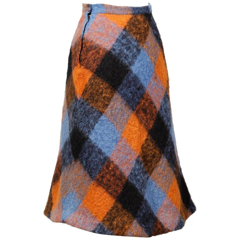 1960s Vintage Nelly De Grab Mohair Wool Skirt with Horsehair Crinoline For Sale