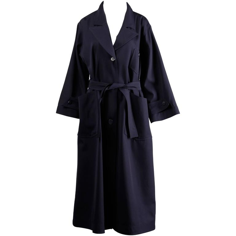 Courreges Vintage Navy Blue Wool Gabardine Trench Coat with Cape Detail