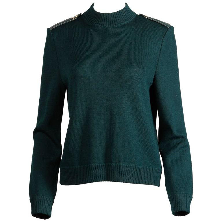 b6a6b53ab3ac St. John by Marie Gray Dark Green Knit Sweater with Soft Leather Epaulettes  For Sale