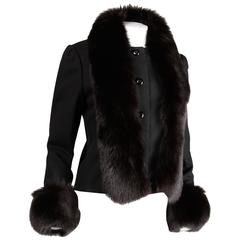 1970s Michael Novarese Vintage Black Wool Jacket with Fox Fur Cuffs + Collar