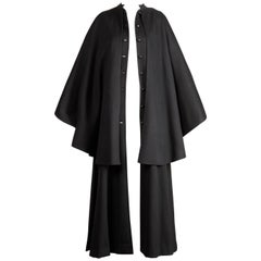 1970s Yves Saint Laurent Vintage Long Black Heavy Wool Cape Coat