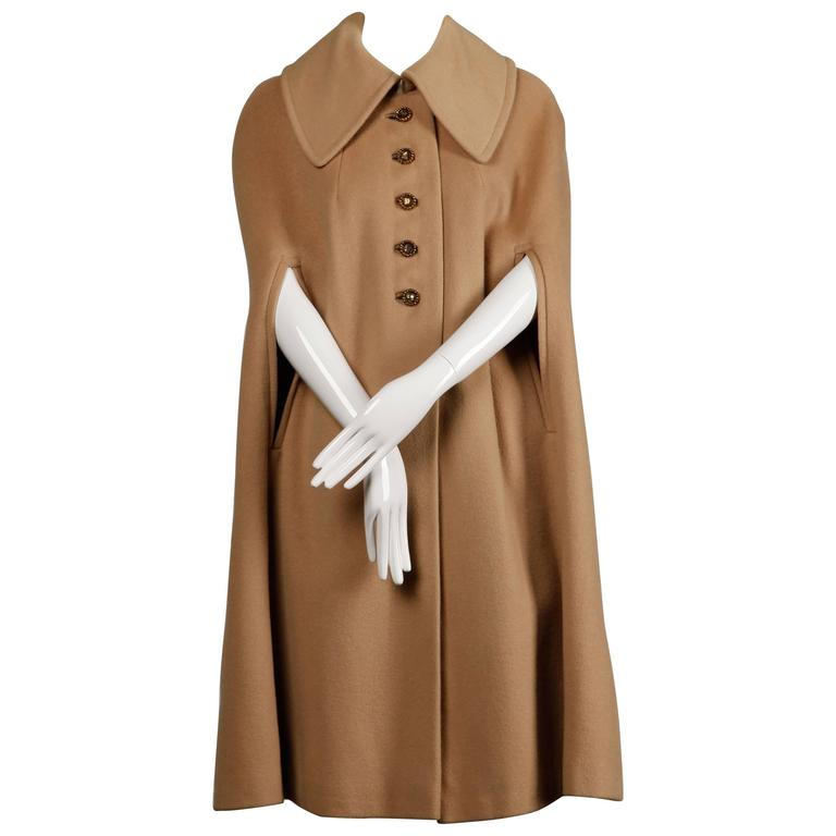 1970s Vintage Youthcraft Wool Camel Cape Coat For Sale