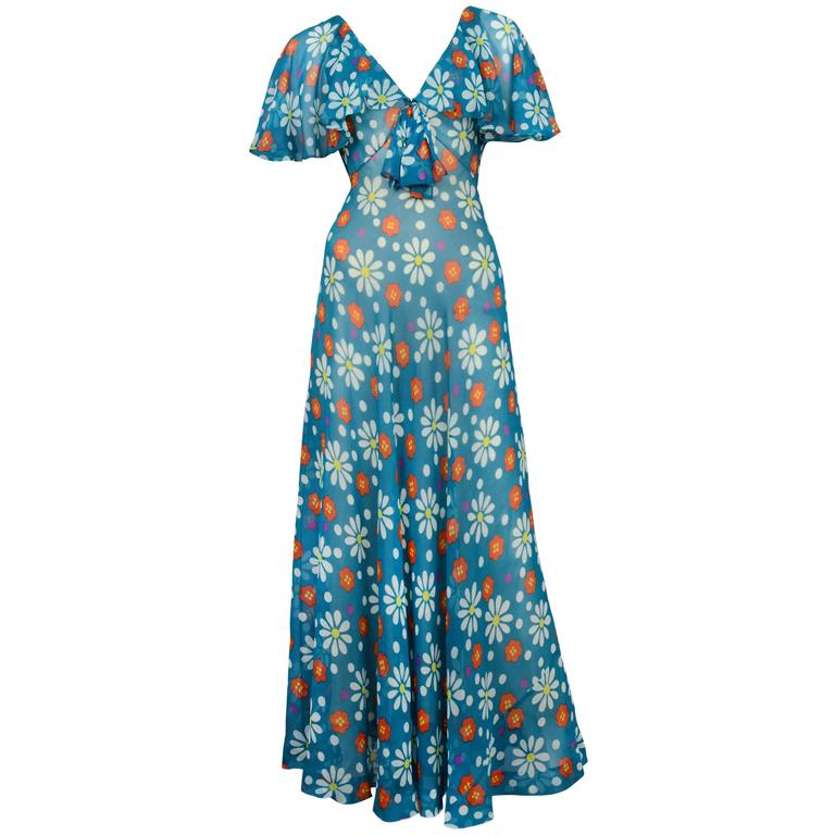 Yves Saint Laurent Teal Floral Maxi Gown 1