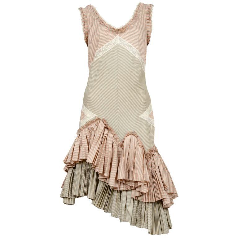 Alexander McQueen Pink Stripe Ruffle Dress 2004 1