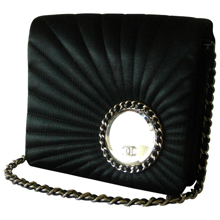 Chanel Evening Bag Black Stitched Silk Satin + Leather Chain Mirror Detail 2002 1