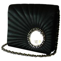 Chanel Evening Bag Black Stitched Silk Satin + Leather Chain Mirror Detail 2002