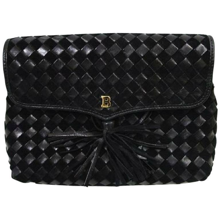 Vintage Bally black woven intrecciato design leather clutch purse, pouch.