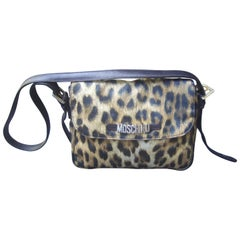 Moschino Italy Animal Print Nylon Shoulder Bag