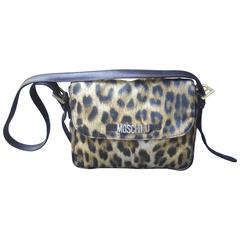 Moschino Italy Animal Print Nylon Shoulder Bag