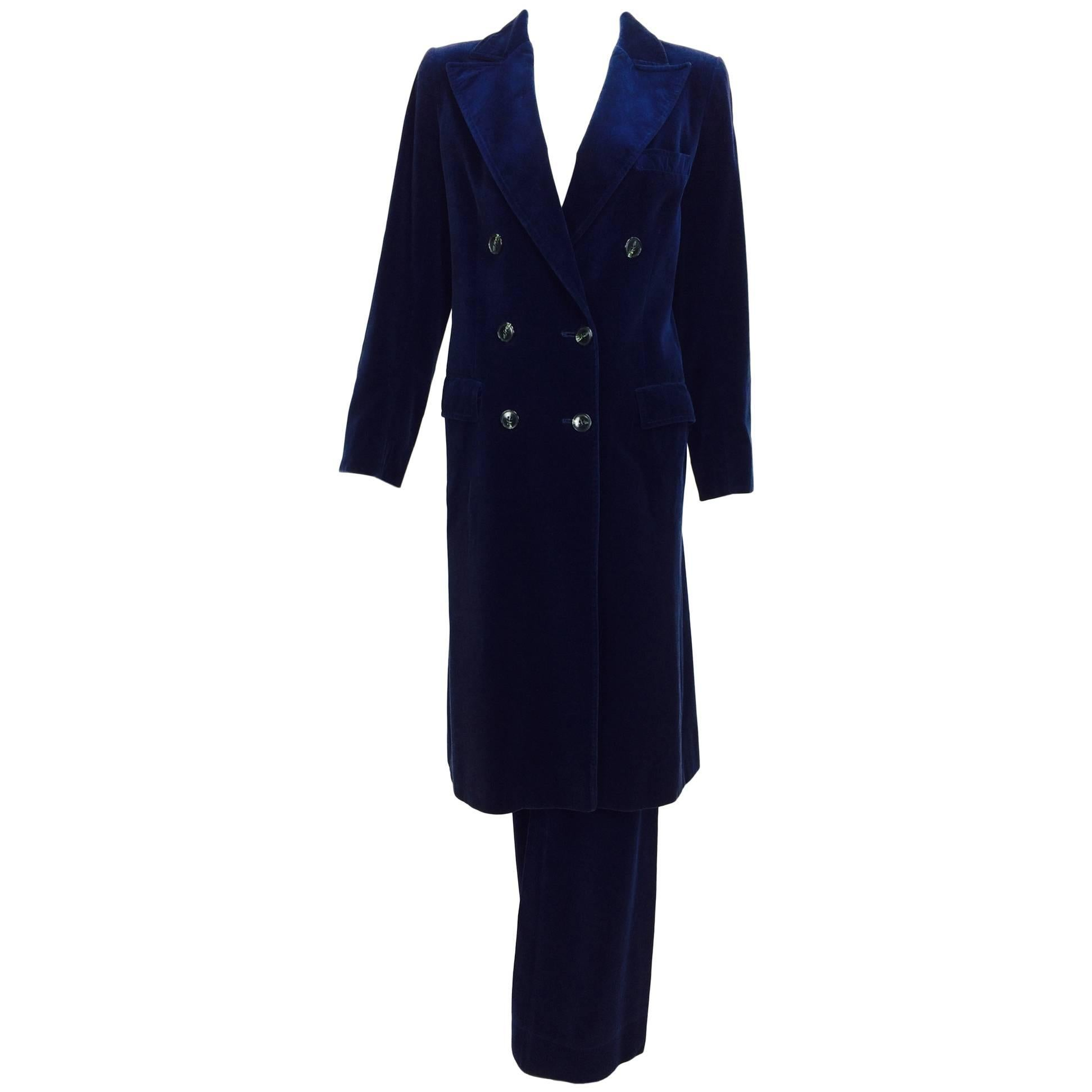 a3d28db871dc Vintage Guy Laroche ink blue velvet double breasted coat and trousers 1970s  at 1stdibs