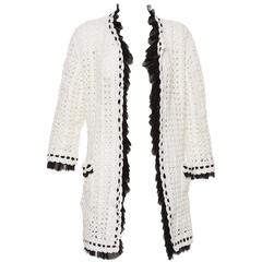Chanel Ivory Crochet Knit Cardigan With Black Silk Chiffon Trim, Spring 2005