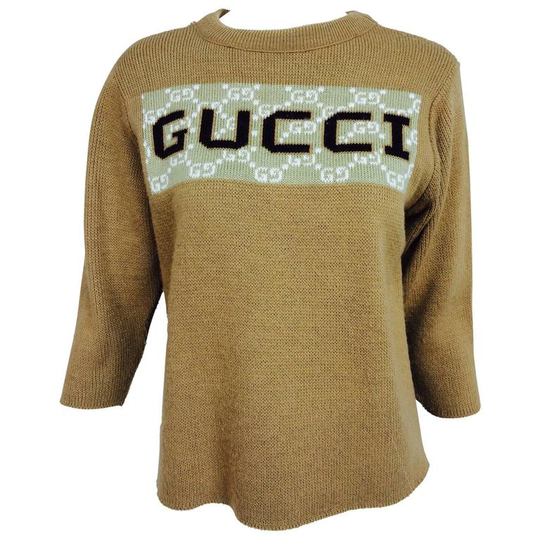 Vintage Gucci novelty logo sweater 1970s For Sale