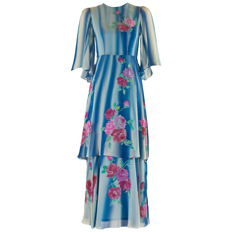 1970s Blue and White Silk Chiffon Floral Layered Angel Sleeve Dress 1