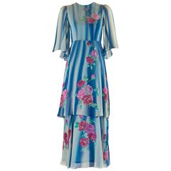 1970s Blue and White Painted Silk Chiffon Floral Layered Angel Sleeve Dress